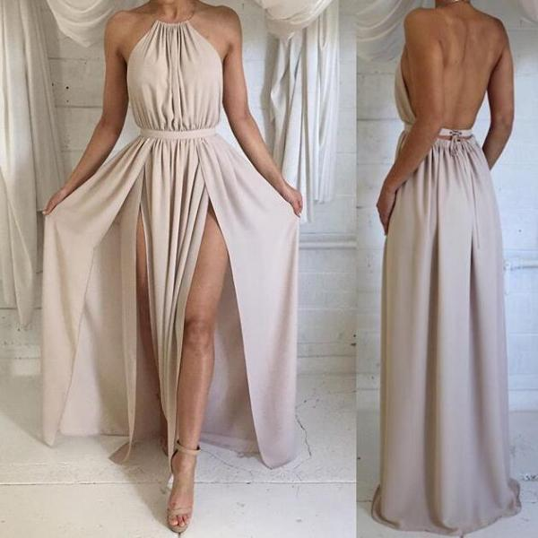 Backless Evening Dress, Sexy Open Back Prom Dress,Long Chiffon Prom Dress ,Spaghetti Strap Party Dress