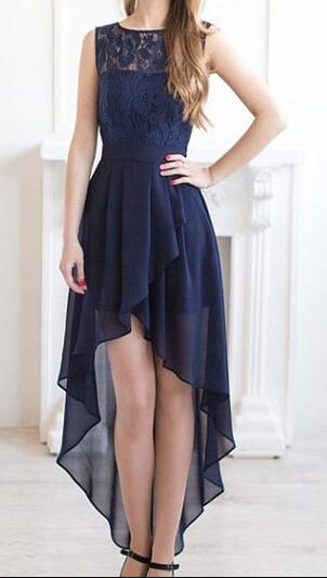 Long Bridesmaid Dress High Low Dresses Navy Blue Chiffon Lace