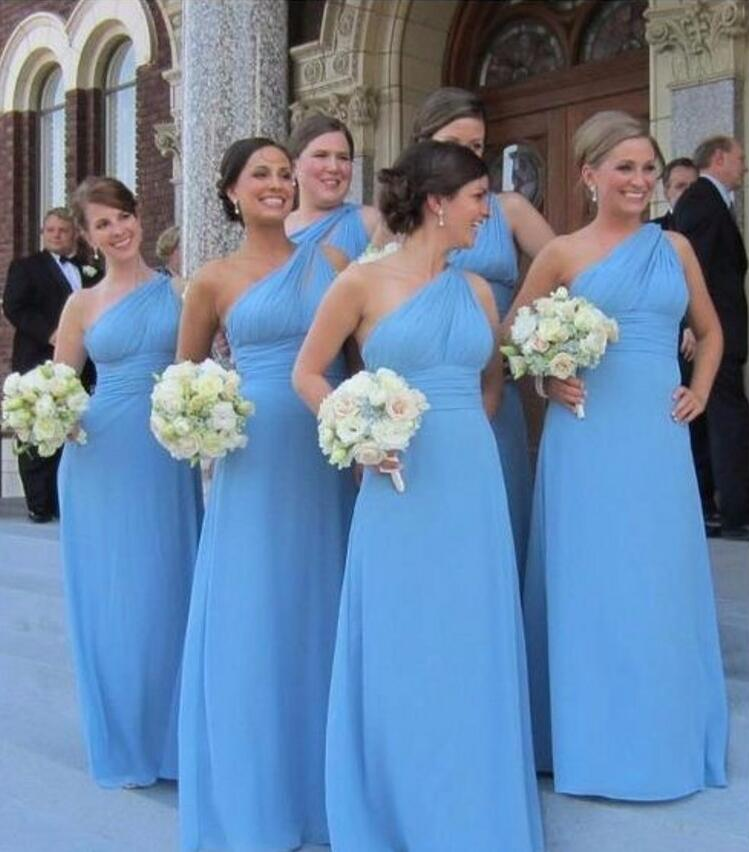 Long Bridesmaid Dress Chiffon Sky Blue One Shoulder
